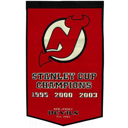 New Jersey Devils Stanley Cup Championship Dynasty Banner - with hanging rod