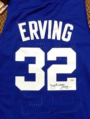 31233fd0153 New Jersey Nets Julius Erving Autographed Signed Blue Adidas Hardwood  Classics Jersey Size L - PSA