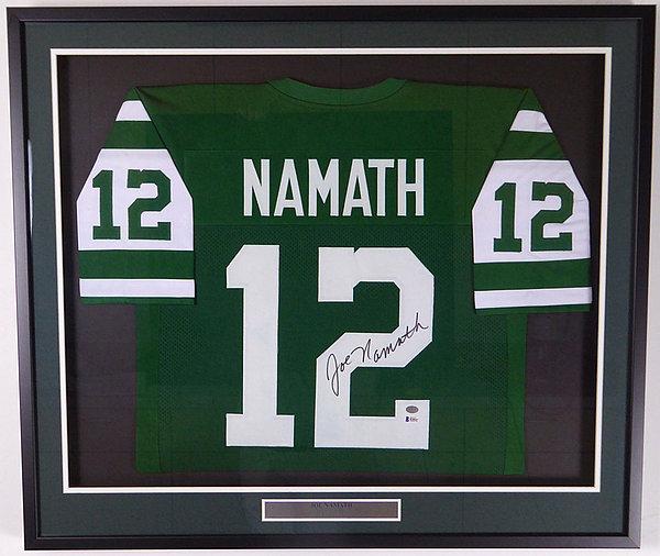 New York Jets Joe Namath Autographed Signed Framed Green Jersey - Beckett  BAS Authentic 512253491