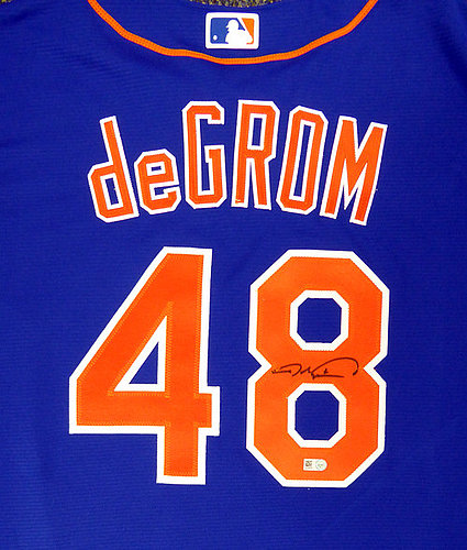 17e9057937a New York Mets Jacob deGrom Autographed Signed Blue Majestic Jersey Size XL  MLB Holo Stock