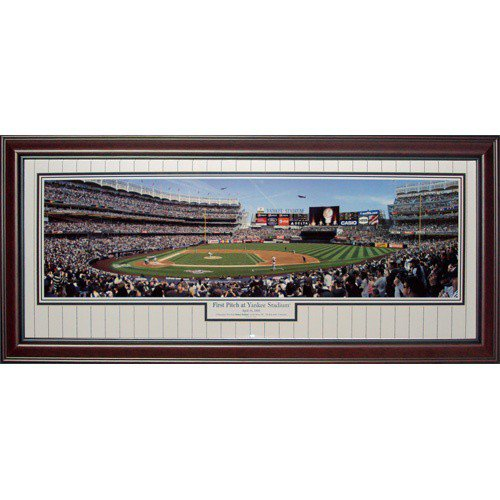 New York Yankees (First Pitch at Yankee Stadium) Deluxe Framed Panoramic Photo