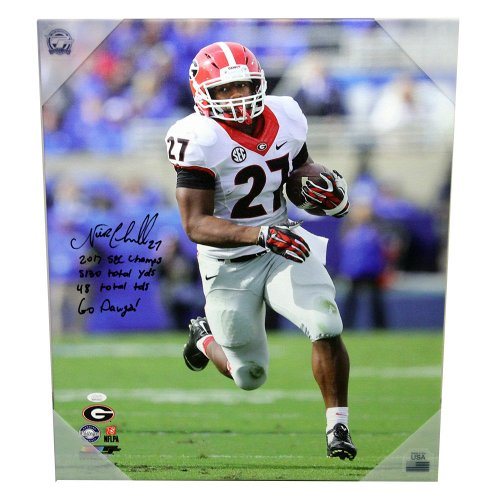 Nick Chubb Autographed Signed Georgia Bulldogs Canvas - White Jersey  Running Downfield - 2017 SEC Champs 1d7a67252