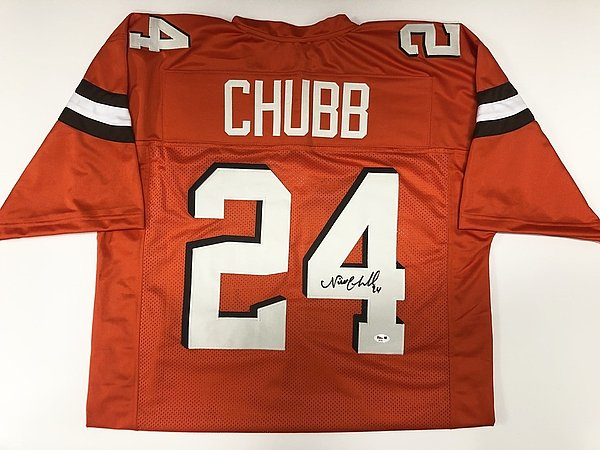 pretty nice fa8bf b107f Nick Chubb Cleveland Browns Autographed Signed Orange Jersey ...