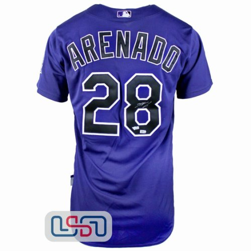 Nolan Arenado Autographed Signed On Field Authentic Purple Rockies Nike Jersey Fanatics Auth