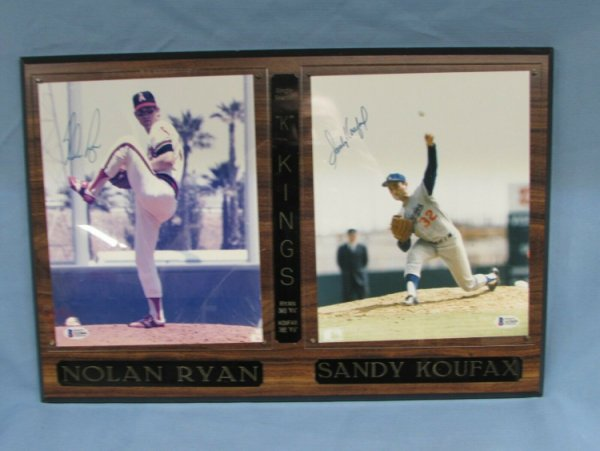 Nolan Ryan Autographed Signed & Sandy Koufax Dual 8X10 Photos In Plaque Beckett COA