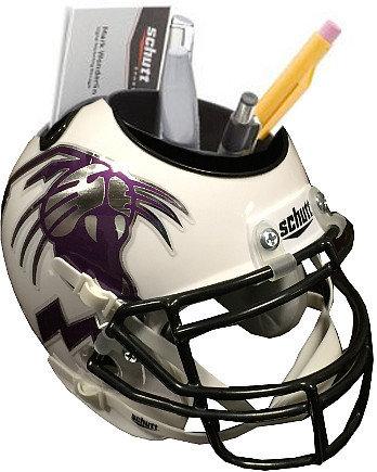 Northwestern Wildcats White Alternate Wildcat Head NCAA Football Schutt Mini Helmet Desk Caddy