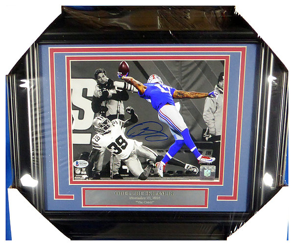 Odell Beckham Jr. Autographed Signed Framed 8x10 Photo New York Giants - Beckett Authentic