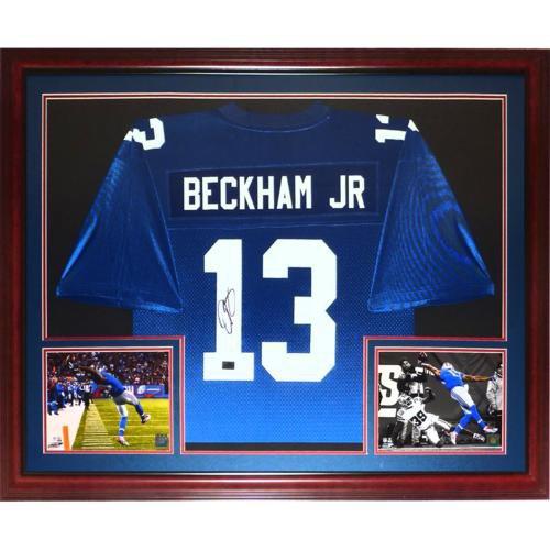 Odell Beckham Jr. Autographed Signed New York Giants (Blue #13) Deluxe Framed Jersey