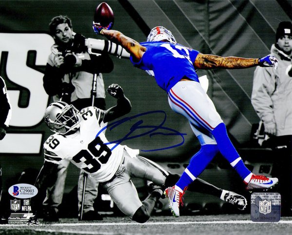 Odell Beckham Jr Autographed Signed New York Giants One-Handed TD Catch Spotlight 8x10 Photo (Beckett)