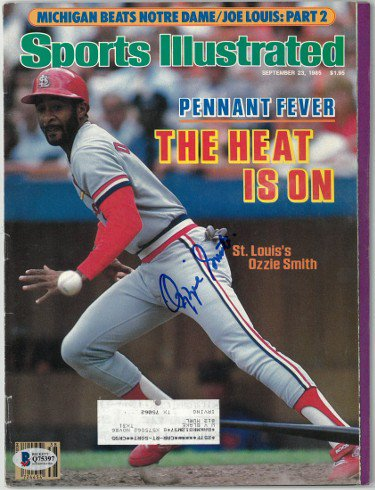 Ozzie Smith Autographed Signed St. Louis Cardinals Sports Illustrated Full Magazine 9/23/1985- Beckett/BAS Hologram #Q75397