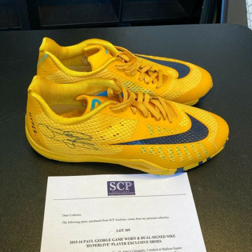 Paul George Autographed Signed 2015-16 Game Used Nike Hyperlive Shoes Sneakers Beckett JSA