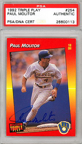 Paul Molitor Autographed Signed 1992 Donruss Triple Play Card 254