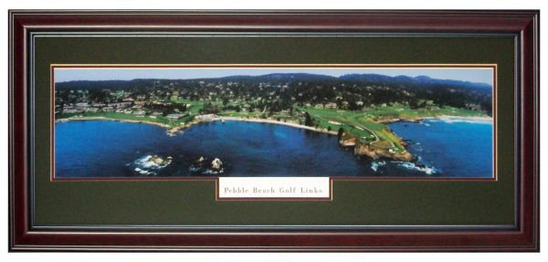 Pebble Beach Golf Links Deluxe Framed Panoramic Photo