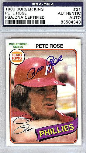 Pete Rose Autographed Signed 1980 Burger King Card 21 Psadna