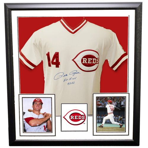 3f9ba5ab03b Pete Rose Framed Autographed Signed Cincinnati Reds Custom White Jersey   Hit King 4256  Inscription - PSA DNA Certified Authentic CF-