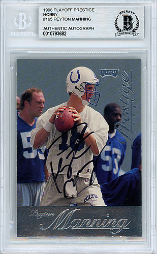 Peyton Manning Autographed Signed 1998 Playoff Prestige Rookie Card  165  Indianapolis Colts - Beckett Authentic 39cf406a6