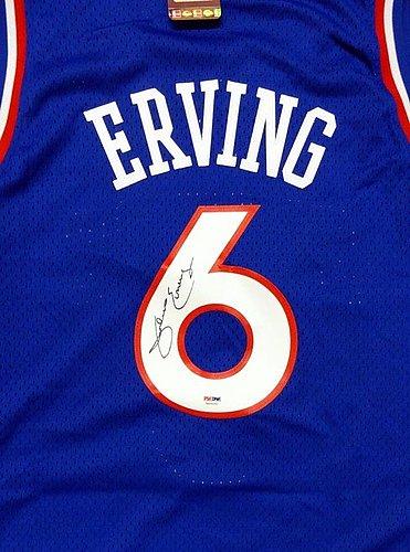 9bb307386 Philadelphia 76 ers Julius Erving Autographed Signed Blue Adidas Hardwood  Classics Jersey Size XL - PSA DNA Certified