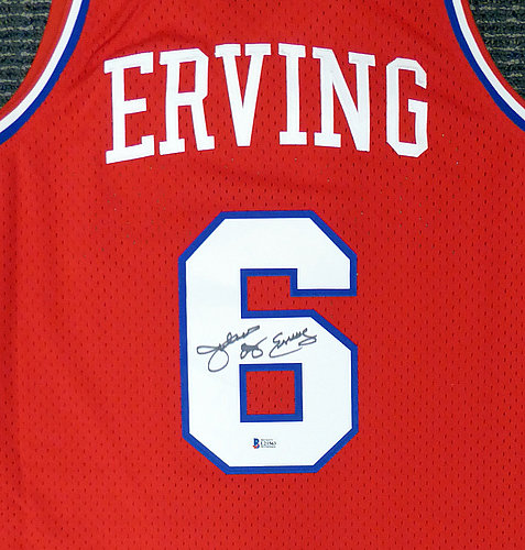 198a86a7b Philadelphia 76ers Julius Dr. J Erving Autographed Signed Red Mitchell   Ness  Jersey Size L - Beckett Authentic KEN