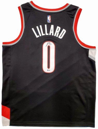 Portland Trail Blazers Damian Lillard Autographed Signed Black Nike Jersey Size XL Beckett BAS