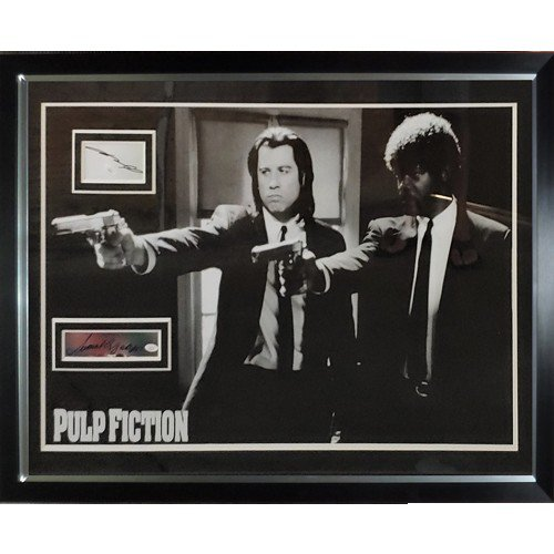 Pulp Fiction Duo with Guns Full-Size Movie Poster Deluxe Framed with John Travolta And Samuel L. Jackson Autographed Signed Autographs - JSA