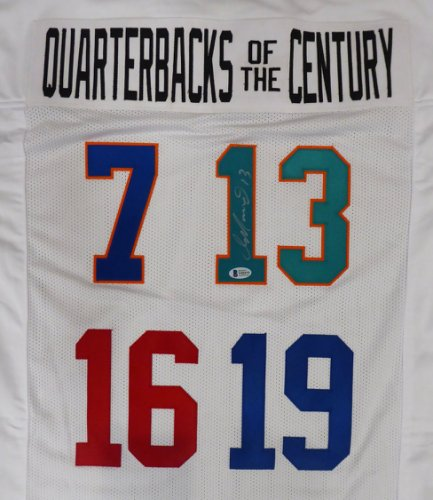 Quarterbacks Of The Century Dan Marino Autographed White Jersey Beckett Authentic #Y92575