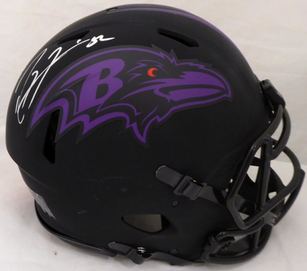 Ray Lewis Autographed Signed Eclipse Black Baltimore Ravens Full Size Authentic Speed Helmet Beckett BAS