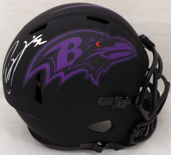 Ray Lewis Autographed Signed Eclipse Black Baltimore Ravens Full Size Speed Replica Helmet Beckett BAS