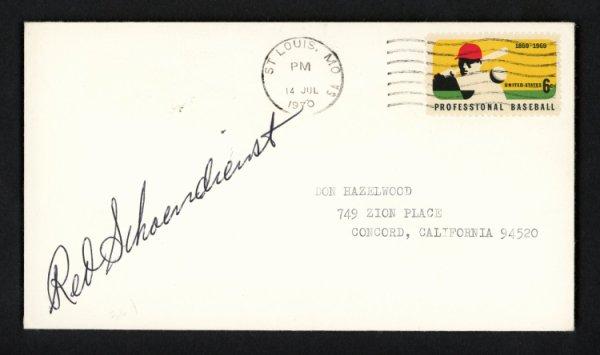Red Schoendienst Autographed Signed 3.5x6.5 Postal Cover St. Louis Cardinals 156652