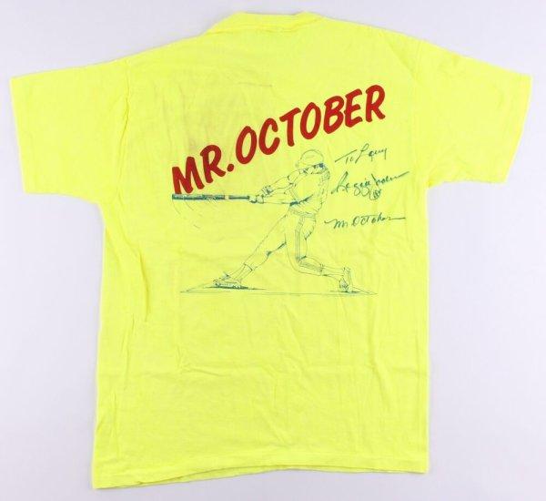 Reggie Jackson Autographed Signed Mr. October T-Shirt Inscribed Mr. October (JSA COA)