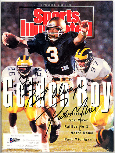 Rick Mirer Autographed Signed Sports Illustrated Magazine Notre Dame Fighting Irish To Stan - Beckett Certified