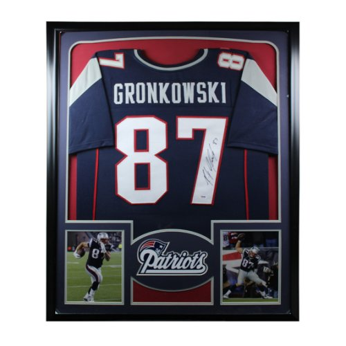 Rob Gronkowski Autographed Signed New England Patriots Framed Premium Deluxe Jersey - PSA/DNA Authentic