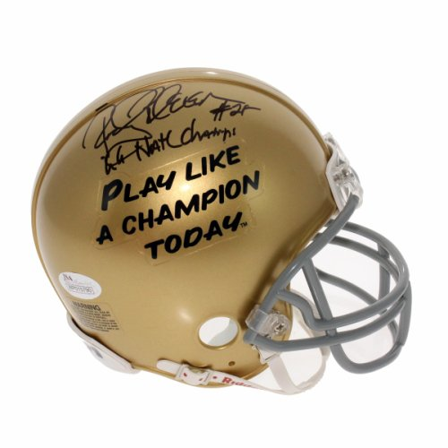 447f471e8e4 Rocky Bleier Autographed Signed Notre Dame Fighting Irish Play Like a  Champion Mini Helmet - 66