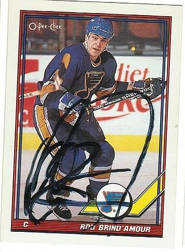 Rod Brind'Amour St. Louis Blues Autographed Signed 1991-92 OPeeChee card - COA Included