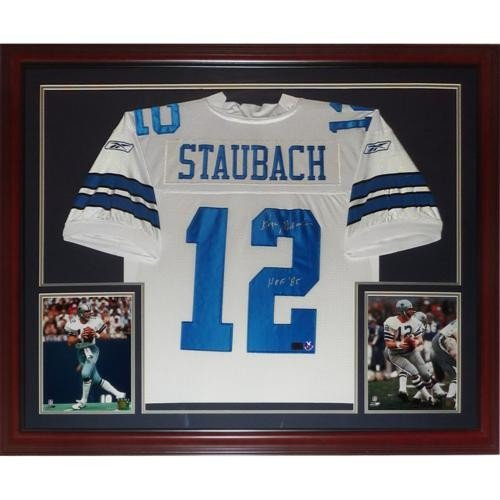 17f675883b7 Roger Staubach Autographed Signed Auto Dallas Cowboys White #12 Deluxe  Framed Jersey HOF 85 � Staubach Holo - Certified Authentic