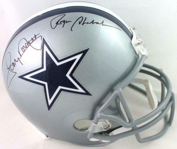 Beckett Auth Black Roger Staubach Autographed Dallas Cowboys 76 TB Mini Helmet