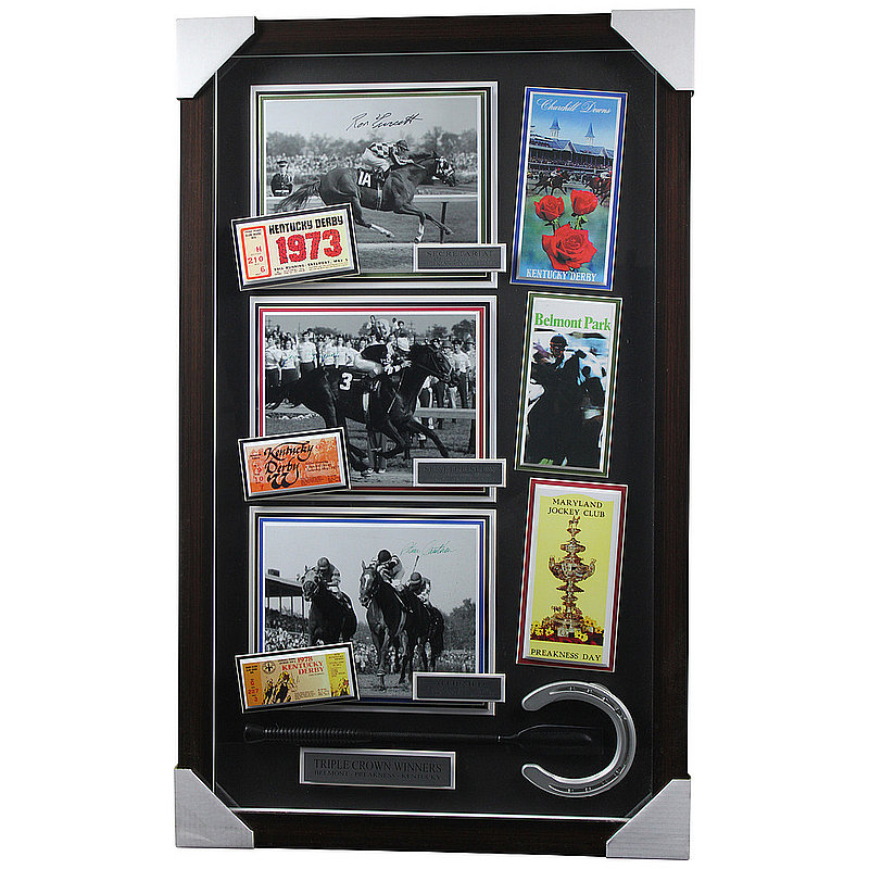 Ron Turcotte, Jean Cruguet, and Steve Cauthen Autographed Signed Triple Crown Winners Framed Shadowbox - Certified Authentic