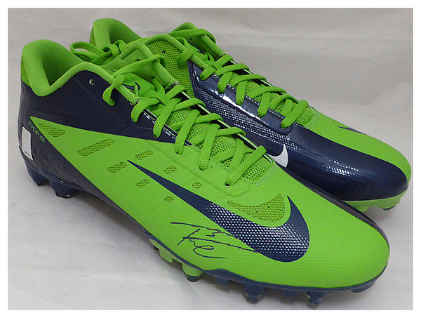 Russell Wilson Autographed Signed Nike Cleats Shoes Seattle Seahawks RW Holo Stock #130471 - Certified Authentic