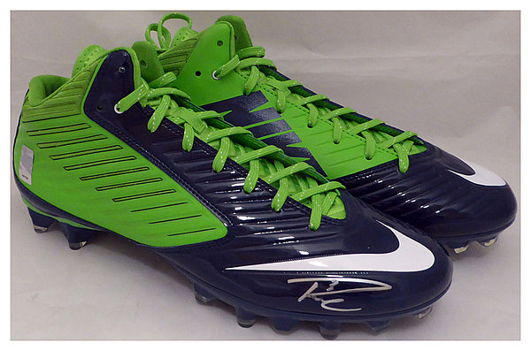 Russell Wilson Autographed Signed Nike Cleats Shoes Seattle Seahawks RW Holo Stock #130472 - Certified Authentic