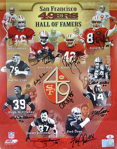 San Francisco 49ers Hall of Famers Autographed Signed 16x20 Photo With 11  Signatures Including Joe Montana Jerry Rice and Steve Young ... b68bd8a86