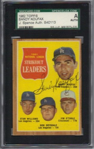 Sandy Koufax Autographed Signed 1962 Topps #60 Card - JSA / Sgc Authenticated