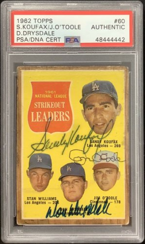 Sandy Koufax Autographed Signed 1962 Topps #60 PSA/DNA Don Drysdale Baseball HOF Autograph