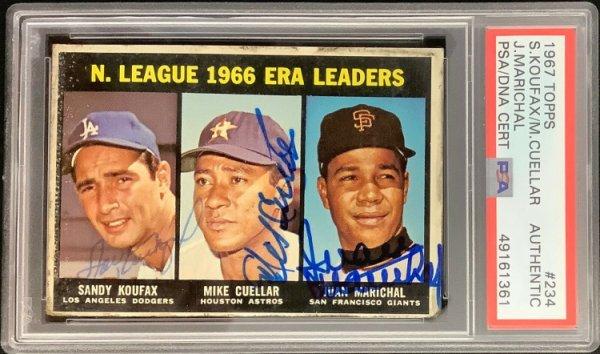 Sandy Koufax Autographed Signed 1967 Topps #234 Card J Marichal M Cuellar Autograph PSA/DNA
