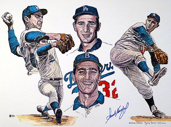 Sandy Koufax Autographed Signed Auto 18x24 Lithograph Los Angeles Dodgers - Beckett Certified