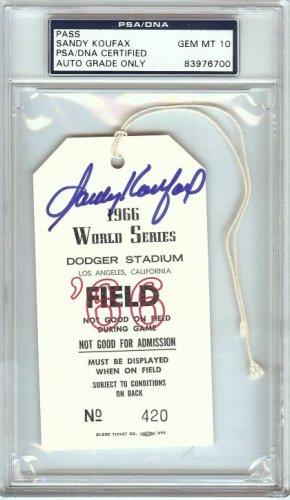 Sandy Koufax Autographed Signed Autographed 1966 World Series Field Pass Dodgers PSA/DNA