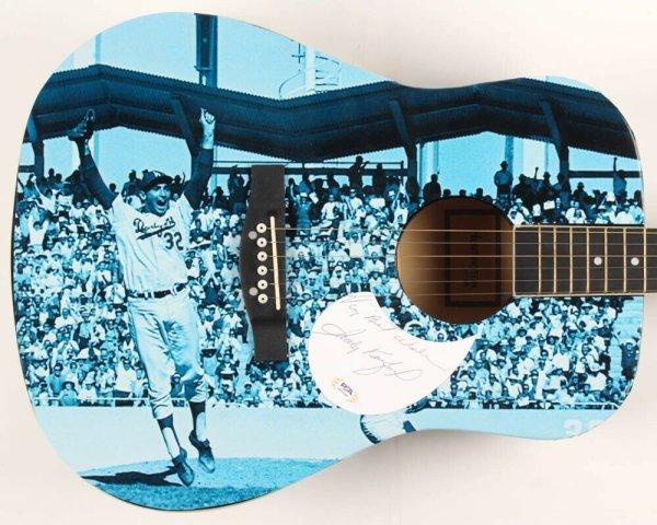 Sandy Koufax Autographed Signed Guitar PSA/DNA COA Custom 1/1 Graphics! La Brooklyn Dodgers