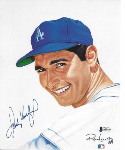 Sandy Koufax Autographed Signed Los Angeles Dodgers Ron Lewis Art 8x10 Photo Beckett Authenticated #2