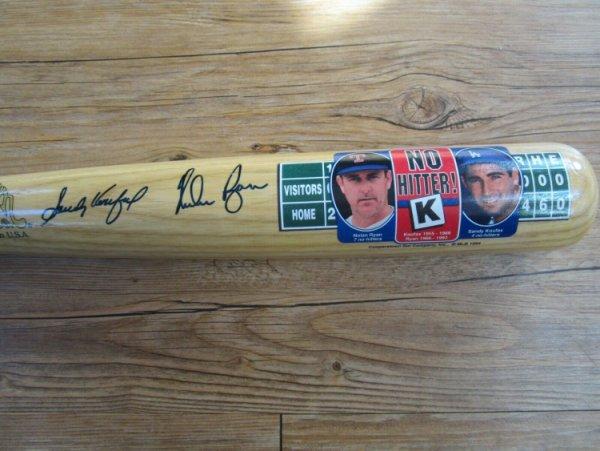Sandy Koufax Autographed Signed & Nolan Ryan Autograph Bat Los Angeles Dodgers PSA/DNA Series