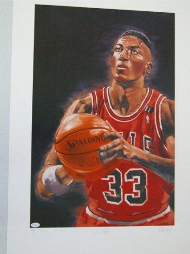 Scottie Pippen Autographed Signed Chicago Bulls Lithos Set John Paxson 2 MVP Signed JSA