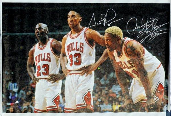 Scottie Pippen Autographed Signed & Dennis Rodman Autographed Huge 42X50 Canvas JSA
