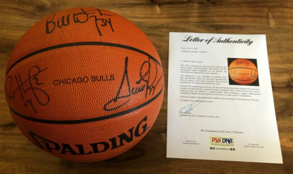 Scottie Pippen Autographed Signed Dennis Rodman Bulls Team NBA Game Basketball PSA/DNA Loa